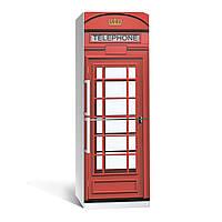 Наклейка на холодильник Zatarga Телефонная будка 650х2000 мм Красный Z180057, КОД: 1804416