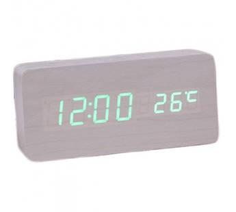 Настольные прямоугольные часы UTM, цифровые, деревянные (большой размер)