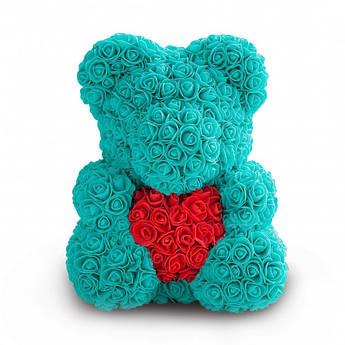 Мишка из роз Бирюзовый с сердцем UTM 40 см