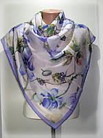 Атласный платок Ароматы лета, голубой