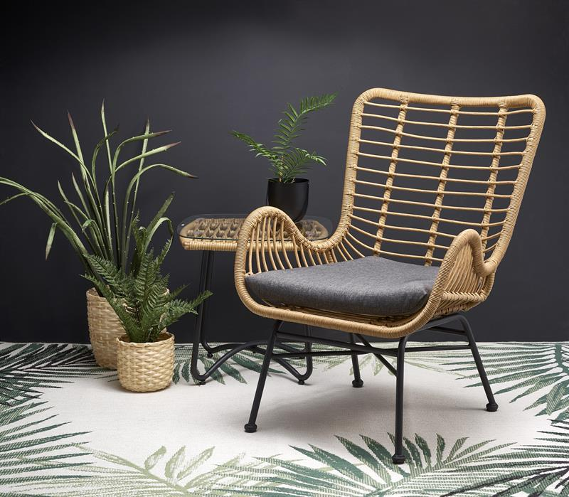 Кресло IKARO серый / ротанг