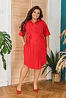 Платье рубашка женское летнее большого размера с кружевом Красное