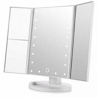 Зеркало с подсветкой 22 LED SuperStar mirror с боковыми зеркалам White