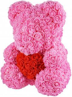 Мишка из роз Розовый с сердцем UTM 40 см
