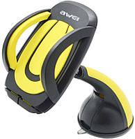 Автодержатель AWEI X7 Car Mobile Holder With Suction Cup Black Yellow 86268, КОД: 1301805
