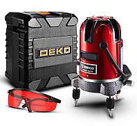 Лазерный уровень нивелир Deko 5 линий 6 точек Кейс Батарейки Очки Блок питания 220V YGFB6DE8DKC, КОД: 1538040