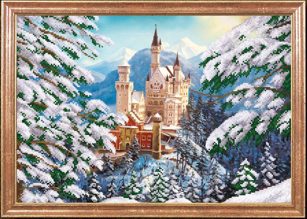 """Рисунок на ткани для вышивания бисером """"Зимний замок """""""