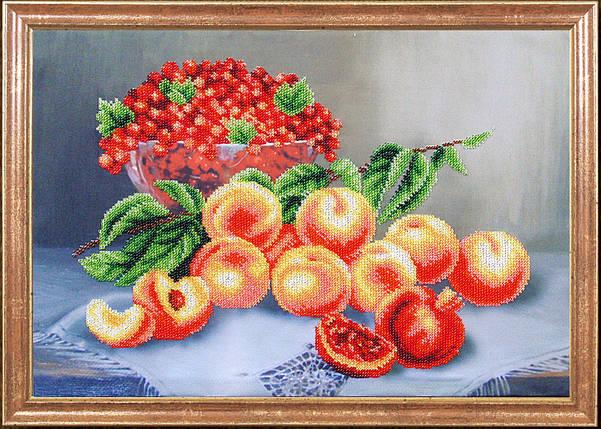 """Рисунок на ткани для вышивания бисером """"Персики со смородиной """", фото 2"""