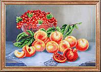 """Рисунок на ткани для вышивания бисером """"Персики со смородиной """""""