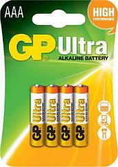 Батарейки GP AAA LR03 Ultra Alcaline 1.5V 4 шт 27659, КОД: 1379074