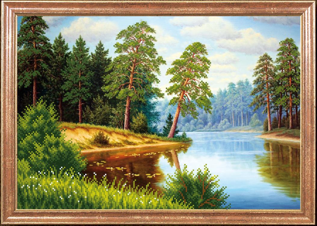 """Рисунок на ткани для вышивания бисером """"Сосны на реке"""""""