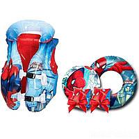 Надувной набор 4 в 1 Intex «Спайдер Мен, Человек-Паук» (жилет , нарукавники , надувной круг , мяч)