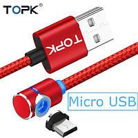Магнитный кабель TOPK 1 метр ПОВОРОТ 90° USB 2.0 для зарядки AM51 Miсro USB (КРАСНЫЙ), фото 1