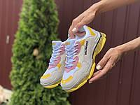 Кроссовки Balenciaga Triple S Sneaker светло серые с желтым