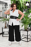 Женский брючный костюм двойка брюки широкого фасона и удлиненный жакет безрукавка размер: 58-60