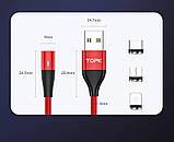 2 Метра Магнитный кабель зарядки и синхронизации TOPK AM60 18W LED 3A IPhone Синий, фото 10