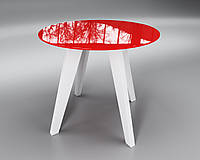 Стеклянный стол Sentenzo Леонардо Круг 900x760 мм Красный белый 44752232, КОД: 1556596