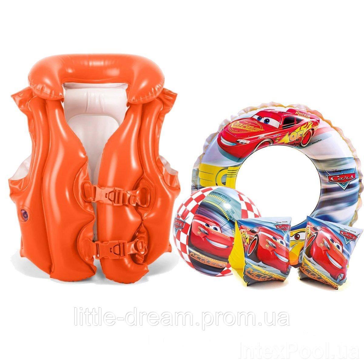 Надувной набор 4 в 1 Intex «Тачки» (надувной жилет, нарукавники, надувной круг, мяч)