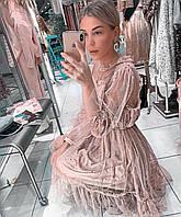 Гипюровое платье с жемчужным пояском пудра