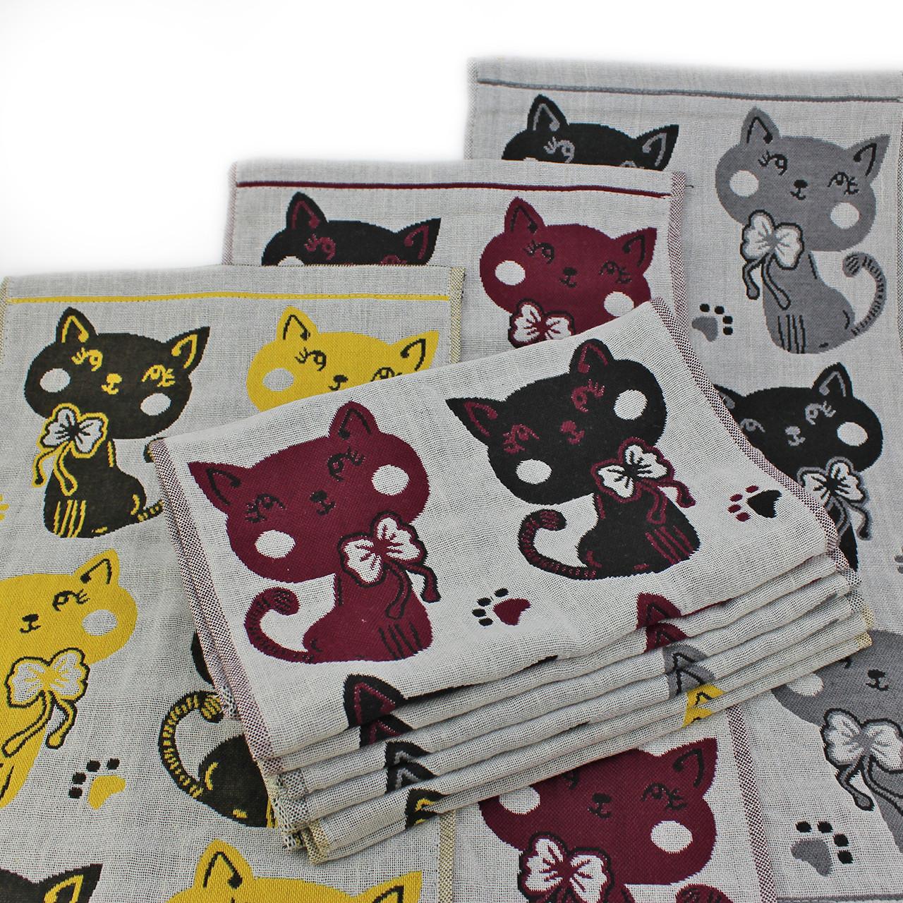 Полотенце льняное кухонное Милые коты, лён 25x50см