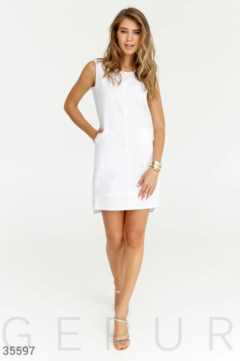 Строгое летнее платье белого цвета S,M,L,XL