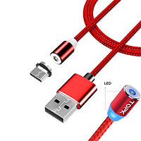 USB Type-C магнитный кабель Xiaomi Huawei LG, нейлон 2.4А 2м TOPK