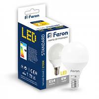 Світлодіодна LED лампа (куля) Feron LB-745 6W Е14