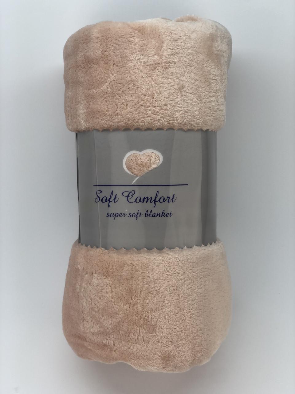 Однотонное покрывало, персиковый плед 200x220см микрофибра SOFT COMFORT