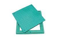 Люк легкий полимерпесчаный зелёный квадратный