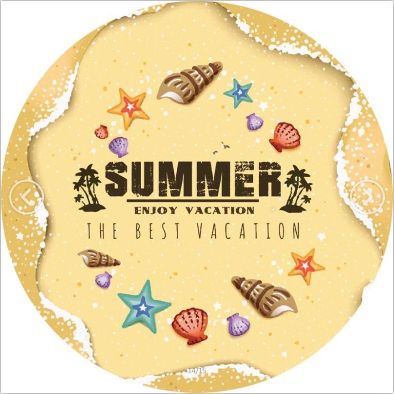 """Пляжний круглий рушник з бахрамою """"Summer"""" бежевий мікрофібра 150см"""