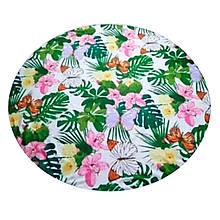 """Рушник пляжний круглий з бахрамою """"Листя з метеликами"""" поліестер 150см"""