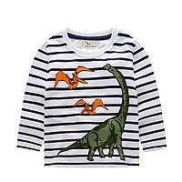 Кофта для мальчика, белая.  Динозавры.