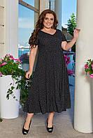 Платье мелкий горошек за колено 48,50,52,54, фото 1