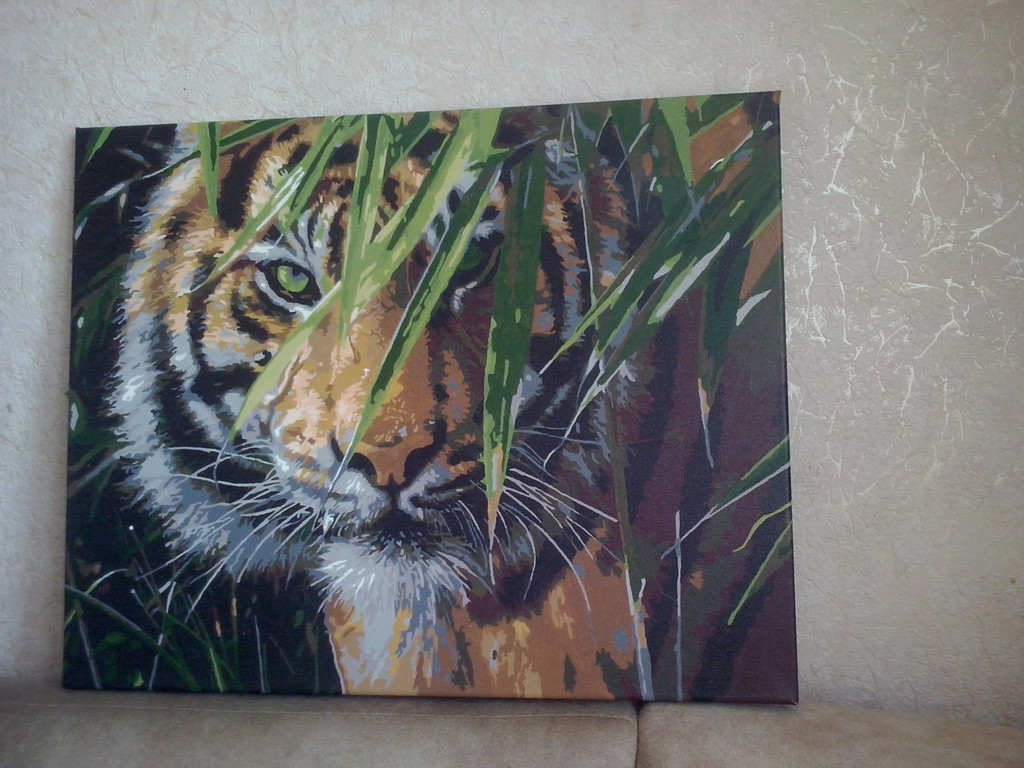 "Как рисовалась картина по номерам MENGLEI ""Амурский тигр"" MG1003 14"