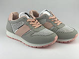 Кросівки для дівчаток сірі сітка LaVento, фото 4