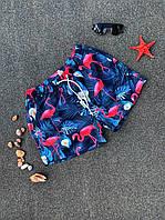 """Плавальні шорти чоловічі """"Рожеві фламінго"""" темно-сині - S, L, XL, 2XL"""