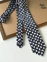 """Стильный галстук """"Retro"""", серый с белыми декором, в подарочной коробке. FRANGI., фото 1"""