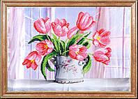 """Рисунок на ткани для вышивания бисером """"Розовые тюльпаны"""""""
