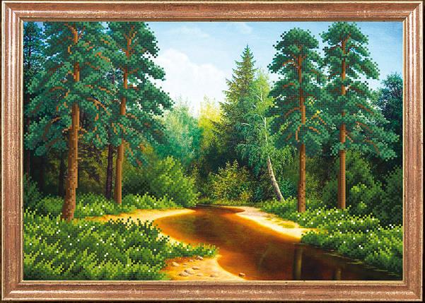 """Рисунок на ткани для вышивания бисером """"Лес у реки """", фото 2"""