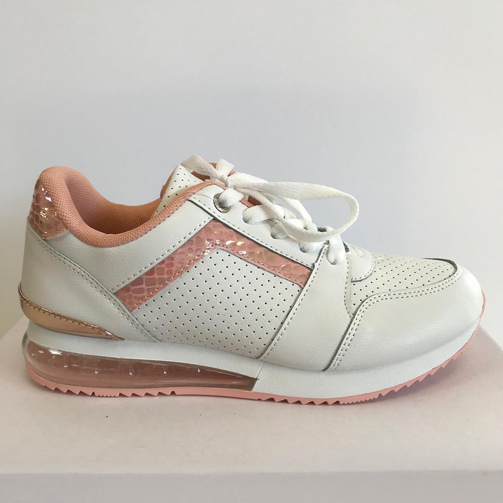 Кроссовки женские бело-розовые LaVento