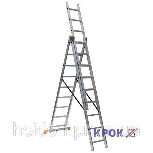 Лестница КРОК 3х9 (5.88 м)  Алюминиевая, 3 Секции, 9 ступеней