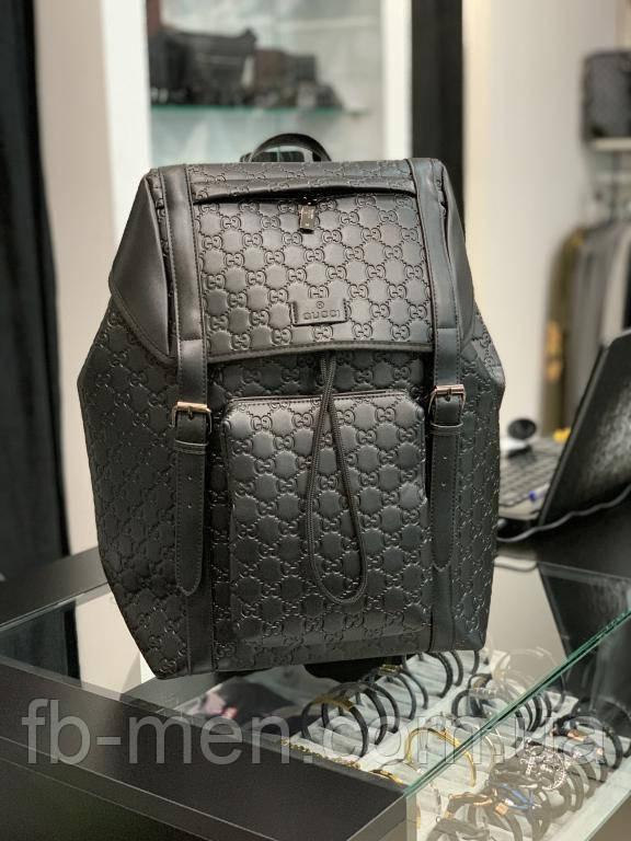 Кожаный рюкзак Гуччи черный мужской женский   Вместительный рюкзак Гуччи кожаный  Спортивный рюкзак Гуччи
