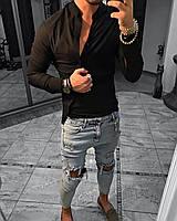 Молодежная мужская однотонная демисезонная рубашка с косой планкой черная - S, M, XL, 2XL