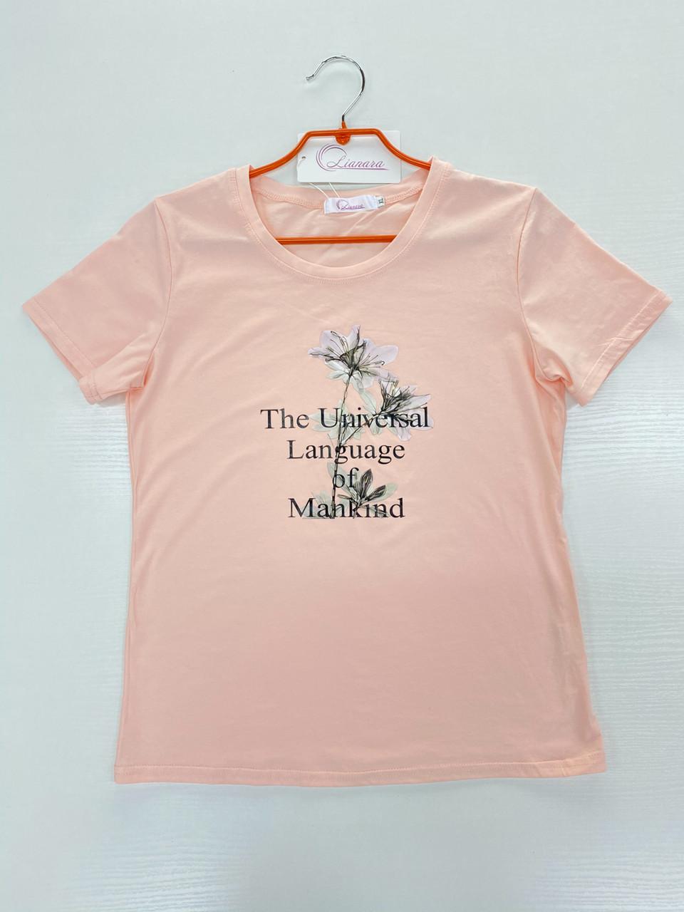 Футболка Стильна жіноча рожева, Преміум якість Lianara