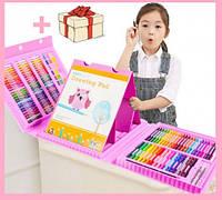 Набор для рисования с мольбертом в чемоданчике 208 предметов набор художника розовый