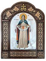 Покрова Божої Матері в арочному різному кіоті з дерева 17х22см