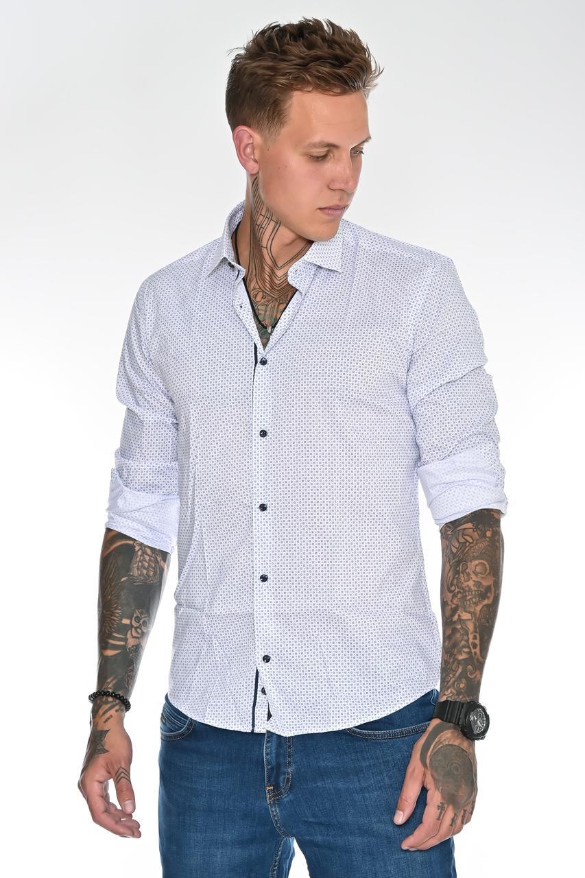 Мужская рубашка Gelix 129901 стрейчевая белая