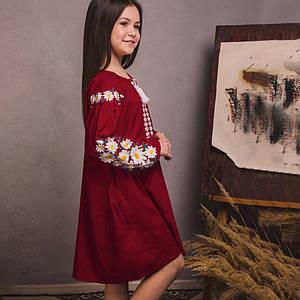 Вышитое платье для девочки Цветочное на бордовом льне