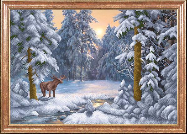 """Рисунок на ткани для вышивания бисером """"Зимний день"""", фото 2"""