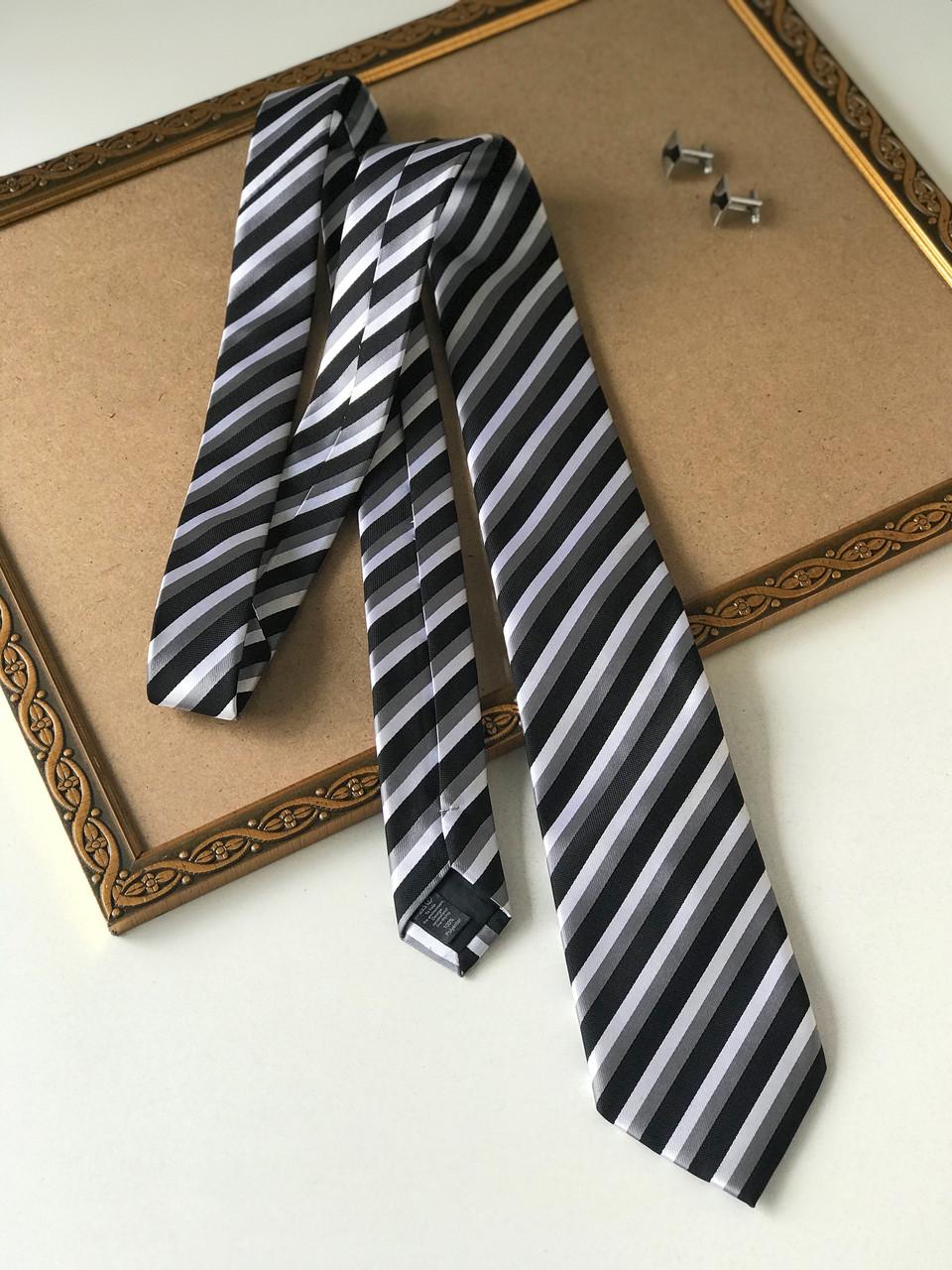 """Стильный галстук """"Silio"""", в полоску, в подарочной коробке. George."""
